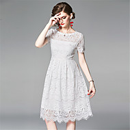 abordables -Mujer Elegante Línea A Vestido Un Color Midi