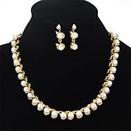 tanie -Damskie Biżuteria Ustaw Sztuczna perła Europejskie, Słodkie, Moda, Elegancja Zawierać Naszyjniki Kolczyki Złoty Na Impreza Ukończenie szkoły Prezent Codzienny Festiwal
