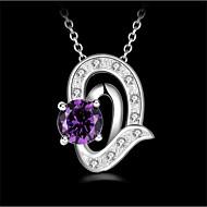 levne -Dámské Kubický zirkon Náhrdelníky s přívěšky Geometrické Radost Módní Měď Bílá Fialová 45+6 cm Náhrdelníky Šperky 1ks Pro Dar Denní