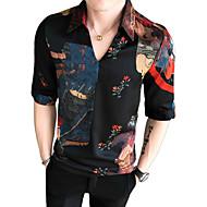 voordelige -Heren Street chic / Elegant Print Overhemd Bloemen / Geometrisch Klaver US38
