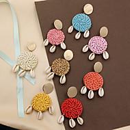 tanie -Damskie Spleciony Kolczyki drop Kolczyki Kolczyki zwisają Drewno Muszlowy Kolczyki Splot Artystyczny Natutalne Tropikalny Koreański Moda Biżuteria Różowy / Jasnoróżowy / Beżowy / Biały Na Zaręczynowy