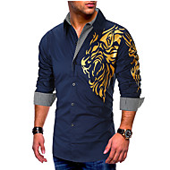 Men's Causal Casual Basic EU / US Size Cotton Shirt - Graphic Print Black / Long Sleeve