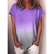 billige -T-skjorte Dame - Fargeblokk, Trykt mønster Grunnleggende / Gatemote Gul US14
