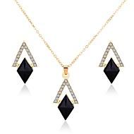رخيصةأون -نسائي أسود مجموعة مجوهرات أنيق تتضمن أقراط قطرة عقد ذهبي من أجل مناسب للبس اليومي