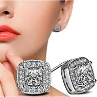 abordables -Boucles d'Oreille Femme Zircon cubique Classique Chanceux Elégant Bagues Tendance Bijoux Blanc Adorable pour Cadeau Quotidien 1 paire