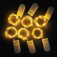 billige -loende 6pcs led lys cr2032 knapp batteridrevet 1m 10led ledet streng lys krans xmas bryllupsfesten juledekorasjon
