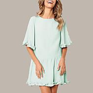 رخيصةأون -فستان نسائي كلاسيكي عصري أناقة الشارع أنيق كشكش Ruched فوق الركبة لون سادة