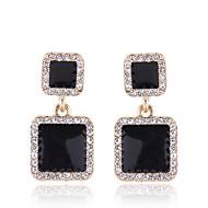 tanie -Damskie Kolczyki drop Kolczyki Imitacja diamentu Kolczyki Prosty Koreański Moda Biżuteria Czarny Na Impreza Rocznica Prezent Codzienny Praca 1 para