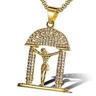 levne -Pánské Kubický zirkon Náhrdelníky s přívěšky Klasika Modlitba Módní Iced Out Titanová ocel Zlatá Bílá 60 cm Náhrdelníky Šperky 1ks Pro Dar Denní