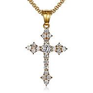 cheap -Men's Women's White Cubic Zirconia Pendant Necklace Geometrical Cross Fashion Zircon Titanium Steel Gold 55 cm Necklace Jewelry 1pc For Gift Daily