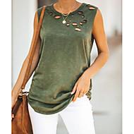 billige -T-skjorte Dame - Ensfarget Hvit US8 / UK12 / EU40