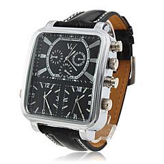 V6 Heren Militair horloge Polshorloge Kwarts Japanse quartz Drie tijdzones PU Band Zwart