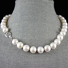 abordables Collares de perlas-Mujer Perla Collar Y / Collar con perlas - Perla, Plata de ley Flor Blanco Gargantillas Para Boda, Fiesta, Aniversario / Pedida / Regalo / Diario