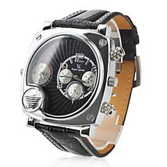 preiswerte Herrenuhren-Männer militärischen Stil zwei Zeitzonen schwarz pu-Band Quarz-Armbanduhr