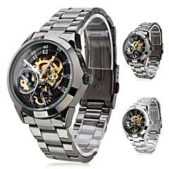 tanie Zegarki męskie-SHENHUA Męskie Zegarek na nadgarstek zegarek mechaniczny Nakręcanie automatyczne Grawerowane Stal nierdzewna Pasmo EkskluzywneCzarny