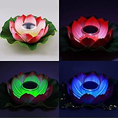 abordables LED e Iluminación-Cambio de color de energía solar flotante Lotus Flower Garden Pool y lámpara Noche