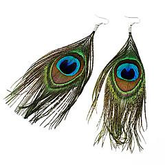 Dame Dråbeøreringe Folk Style kostume smykker Boheme Stil Mode Fjer Stof Legering Fjer Påfugl Smykker Til Fest