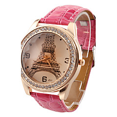 Χαμηλού Κόστους Γυναικεία ρολόγια-Γυναικεία Χαλαζίας απομίμηση διαμαντιών PU Μπάντα Καθημερινό Πύργος του Άιφελ Μαύρο Λευκή Κόκκινο Καφέ Rose