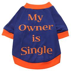 お買い得  犬用ウェア&アクセサリー-犬 Tシャツ 犬用ウェア 文字&番号 ブルー コットン コスチューム ペット用