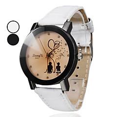 preiswerte Tolle Angebote auf Uhren-Damen Modeuhr Quartz PU Band Analog Zeichentrick Schwarz / Weiß - Weiß Schwarz