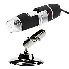 Portable USB 2.0 e 1.1 50x / 500x ampliador de 2MP microscópio digital com iluminação 8 liderada pelos (preto)