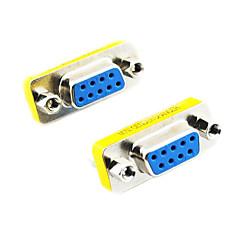 DE9 seriel RS-232 9pin Kvinde til Kvinde Adapter (Silver & Yellow, 2 PCS)