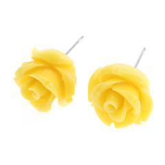 preiswerte Ohrringe-Damen Ohrstecker - Edelstahl Rosen, Blume Weiß / Gelb / Rot Für Alltag