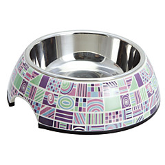 Elegante patrón de prueba de melamina Shell Pet acero inoxidable Tazón Comida para Gatos Perros (S-XL)