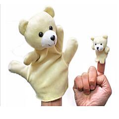 voordelige Poppen-2PCS Ouder-kind Hand & Finger Puppets Beige Beren