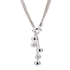 voordelige Kettingen-Hangertjes ketting Sterling zilver Titanium Staal Legering Hangertjes ketting , Dagelijks