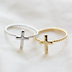 Массивные кольца Сплав Крестообразной формы Мода Золотой Серебряный Бижутерия Для вечеринок 1шт