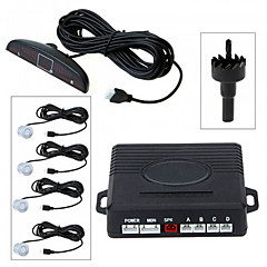 Car LED Parking Reverse Backup Radar System with 4 Sensors (Black,Silver)