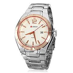 お買い得  メンズ腕時計-CURREN 男性用 リストウォッチ クォーツ シルバー カレンダー ハンズ チャーム ドレスウォッチ - ブラック ゴールドとブラック ゴールド / シルバー