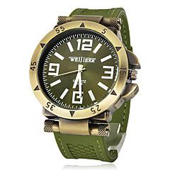 Heren Militair horloge Polshorloge Kwarts Silicone Band Zwart Groen Zwart Zilver Groen