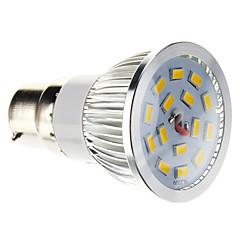 B22 Lâmpadas de Foco de LED 15 leds SMD 5730 Regulável Branco Quente 100-550lm 2700-3500K AC 220-240V
