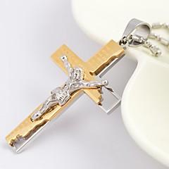 Недорогие Ожерелья-Муж. Ожерелья с подвесками - Титановая сталь, Позолота Крест Дамы, Мода Черный, Серебряный, Золотой Ожерелье Бижутерия Назначение Повседневные