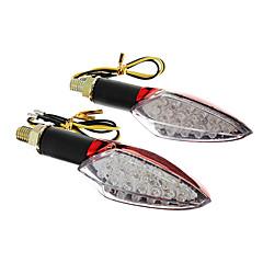 Недорогие Фары для мотоциклов-DIY водонепроницаемый 15-LED Сигналы поворота желтый свет для мотоциклов красный (DC12-16V 2W 2-х частей)