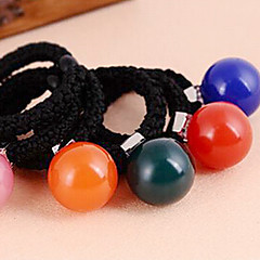 お買い得  ヘアジュエリー-女性のための韓国のラウンドアクリルキャンディボールの生地の毛の絆(ランダム色)(1個)