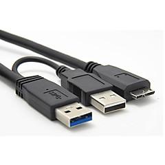 Usb 3.0 En Usb 2.0-Han-Han Mikro B Strøm Datakabel Til Mobil Hdd Ssd 0,6 1.9Ft