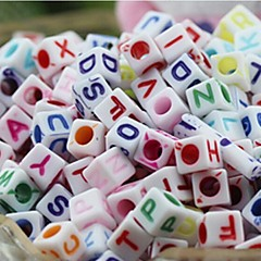 voordelige Kralen-z&x® diy kralen materiaal kleur brief kubieke kralen 100 stuks (willekeurige kleur, patroon)