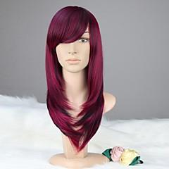 お買い得  人工毛ウィッグ-人工毛ウィッグ バング付き 女性用 パープル カーニバルウィッグ ハロウィンウィッグ ブラックウィッグ