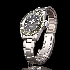 お買い得  メンズ腕時計-男性用 ドレスウォッチ カレンダー バンド ハンズ ブラック / グリーン シルバーとブラック