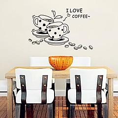 커피 잔 현대 귀여운 플라스틱 벽 스티커 모양 (검은 색 x1pcs)