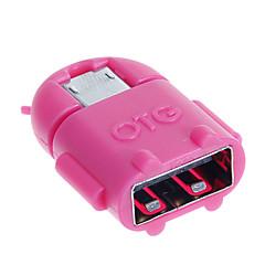 hf-android micro usb male naar USB 2.0 OTG vrouwelijke adapters - groen + diep roze (2 stuks)