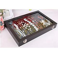 abordables Embalajes y expositores para joyería-Cajas de Joyería Franela de Algodón Vidrio Papel Forma Geométrica Negro
