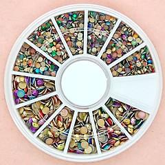 1200pcs karışık boyutlu 3d yuvarlak renkli alaşım Çıtçıt tekerlek tırnak sanat dekorasyon
