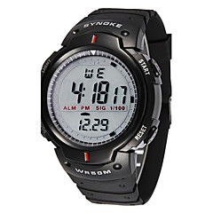 Heren Sporthorloge Polshorloge Digitaal Alarm Kalender Chronograaf Waterbestendig LED LCD Stopwatch Rubber Band Cool Zwart