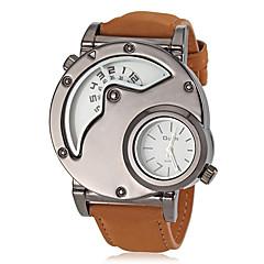 Heren Militair horloge Kwarts Japanse quartz Dubbele tijdzones Leer Band Bruin