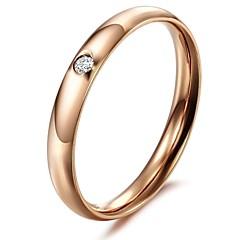 preiswerte Ringe-Damen Bandring - Titanstahl, vergoldet Modisch 5 / 6 / 7 Silber / Rose Für Hochzeit / Party / Alltag / Strass