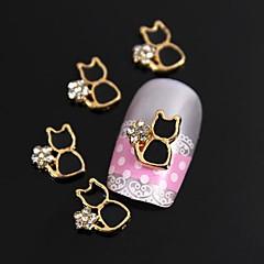 10 buc placat cu aur de black metal stras pisica 3d unghii din aliaj de arta decorativa